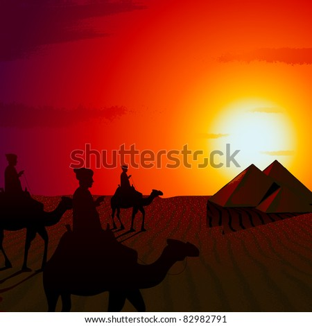 illustration of people riding on camel in sunset view of desert - stock vector