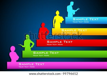 illustration of people standing on growing bar graph - stock vector