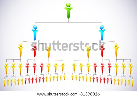 illustration of people structure showing organizational hierarchy - stock vector