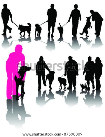 Illustration of people with dog and shadow-vector - stock vector