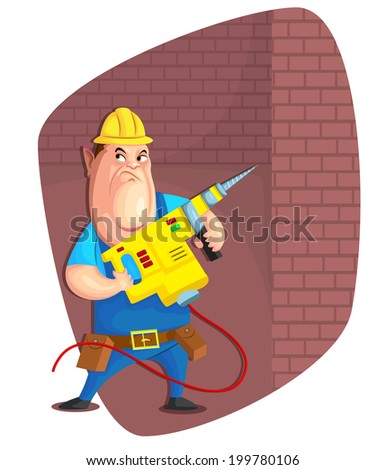 illustration of person with driller in vector - stock vector