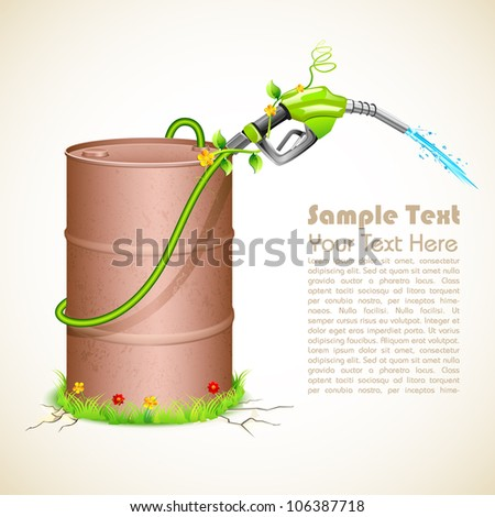 illustration of petrol nozzle wrapped with creeper with metal barrel showing green fuel