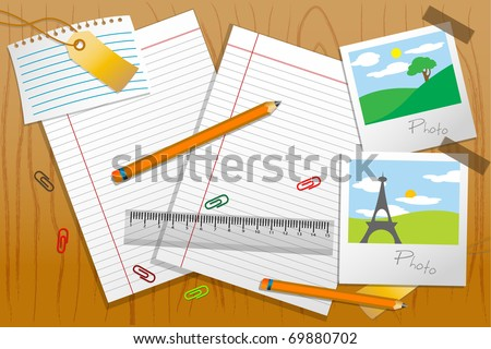 illustration of photo with stationary and paper on table - stock vector