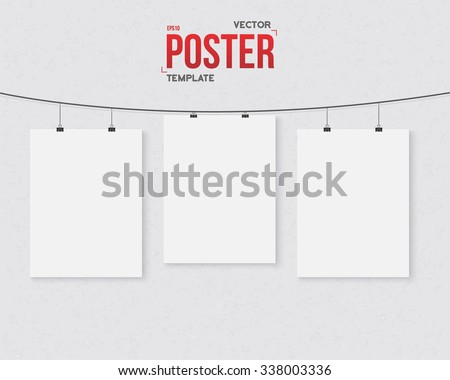 Illustration of Photorealistic Vector Dark Poster Set on a String Template. Realistic Poster Set with Clips on a Textured Wall - stock vector