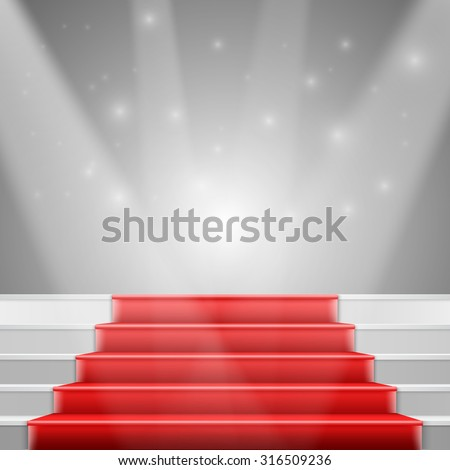 Illustration of Photorealistic Vector Stairs with Red Carpet and Bright Luxury Event Background - stock vector