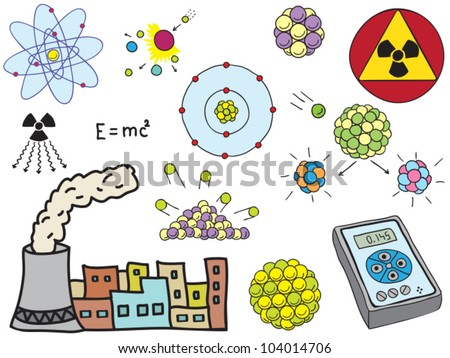 Illustration of Physics - atomic nuclear energy - hand-drawn symbols - stock vector
