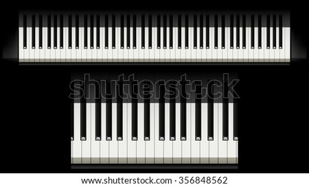 illustration of piano buttons with shadow on black background