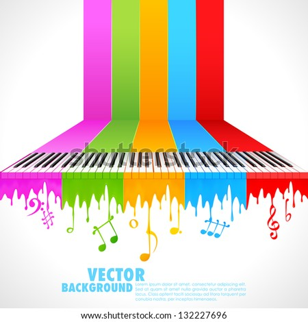 illustration of piano key on rainbow color paint - stock vector