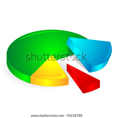illustration of pie chart on isolated background - stock vector