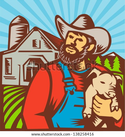 Illustration of pig farmer with piglet facing front with farmhouse barn building in background done in retro woodcut style. - stock vector