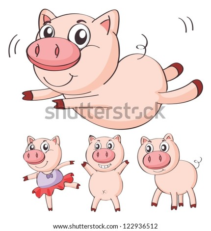 Illustration of pigs on a white background - stock vector