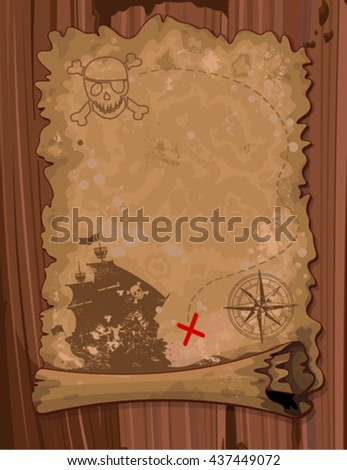 Illustration of Pirate scroll map - stock vector
