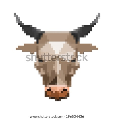 Illustration of pixel art bull isolated on white background