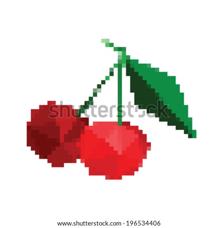 Illustration of pixel art cherries isolated on white background