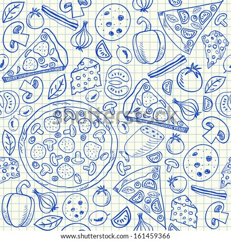 Illustration of pizza doodles, seamless pattern on squared paper. pizza sketch. vector food draw. seamless cheese pizza drawing. tasty pizza with tomato, salami, cheese, olive and bacon. - stock vector
