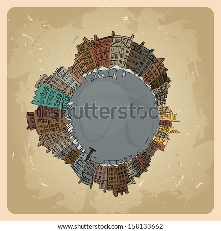 illustration of Planet earth  traveling around the world concept and city skyscrapers vintage - stock vector