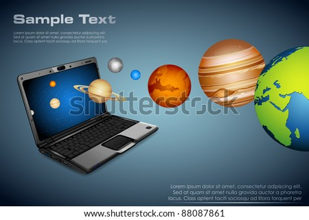 illustration of planets coming out of notebook - stock vector