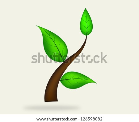 illustration of plant sapling growing on abstract background - stock vector