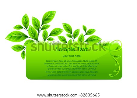 illustration of plant with eco poster on white background - stock vector