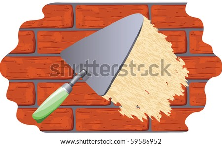 illustration of plastering on the wall - stock vector