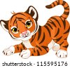 Illustration of playful tiger cub - stock photo