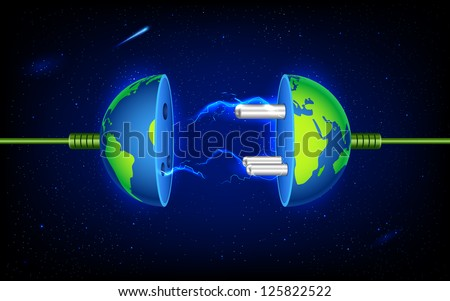 illustration of plug socket in earth with spark - stock vector