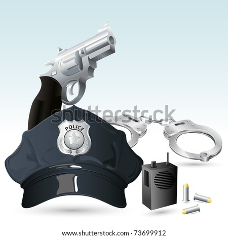 illustration of police cap with handcuff and gun - stock vector