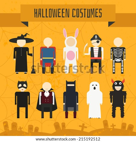 Illustration of popular halloween costumes, including vampire, rabbit, superhero, pirate, skeleton, monster, witch. Vector halloween illustration. - stock vector