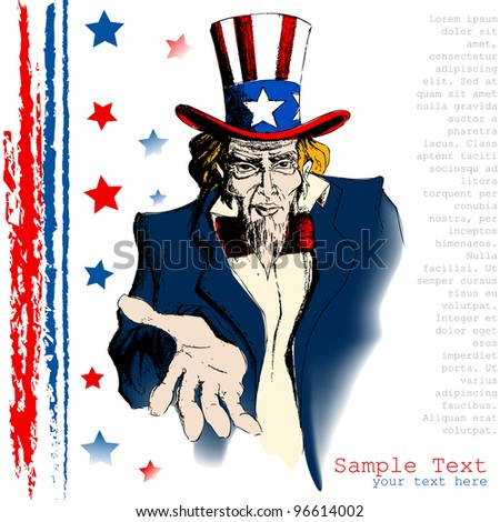 illustration of portrait of Uncle Sam on american flag background