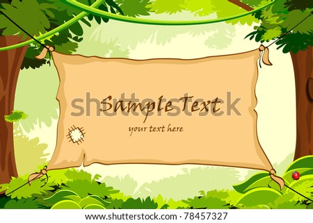 illustration of poster for sample text hanging in forest - stock vector