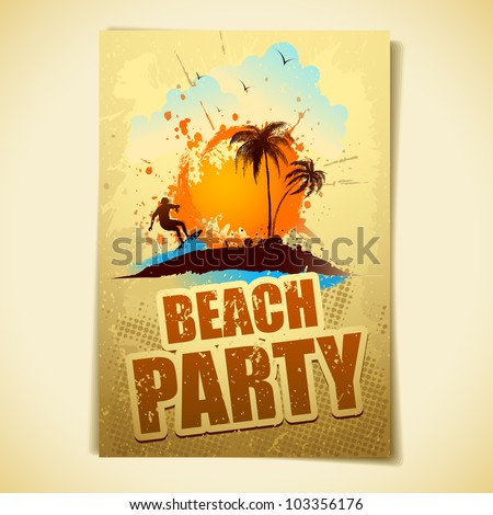 illustration of poster with surfer in sea for beach party - stock vector