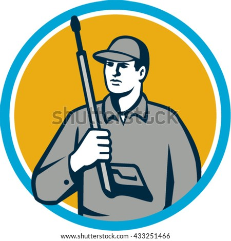 Illustration of power washer worker holding pressure washing gun on shoulder looking to the side viewed from front set inside circle on isolated background done in retro style.  - stock vector