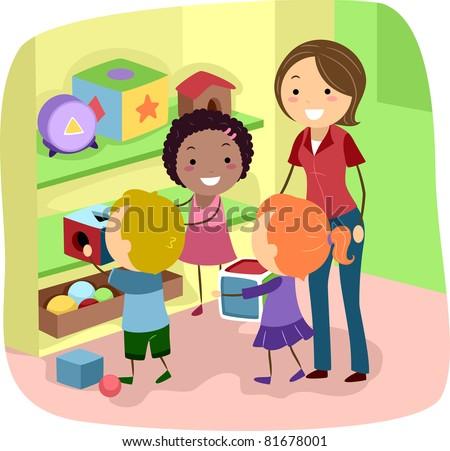 Illustration of Preschool Kids organizing their toys - stock vector