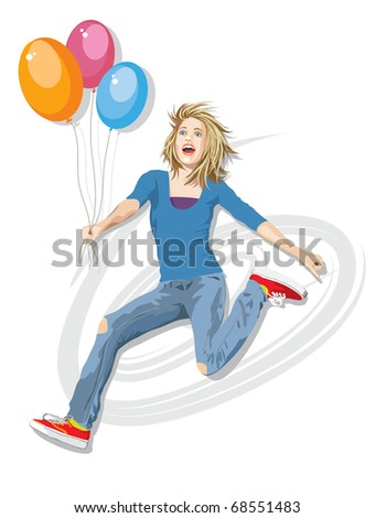 Illustration of pretty teenager jumping in the air holding balloons. Realistic vector style. Hand drawn. Elements on separate layers for easy editing. No gradients or blends, all solid colors. - stock vector