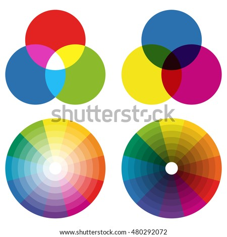 Illustration Of Printing Color Wheels With Different Colors In Gradations