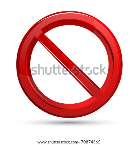 illustration of prohibited sign on isolated white background - stock vector