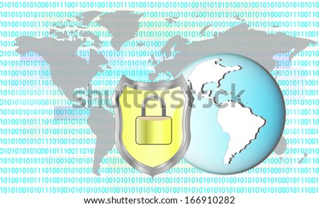 Illustration of protection cyber crime. Lock with earth. Elements of this image are furnished by NASA - stock vector
