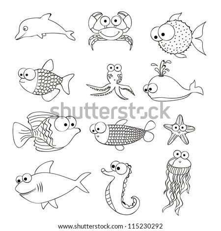 Illustration of  puffer fish, starfish, sea horse, octopus, puffer fish, whale,  fish shark, fish Drawings, aquatic animals, vector illustration - stock vector