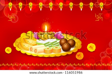 illustration of puja thali with holy festival object for Diwali
