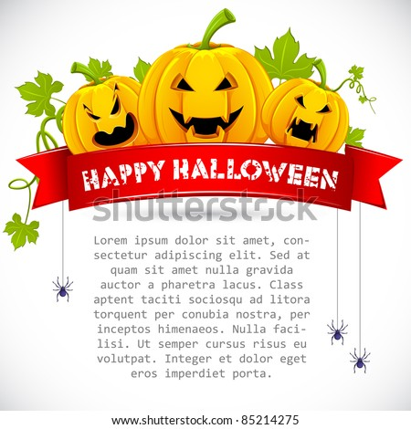 illustration of pumpkin with ribbon on halloween card - stock vector