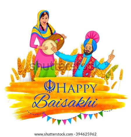 illustration of Punjabi New Year Happy Baisakhi background - stock vector