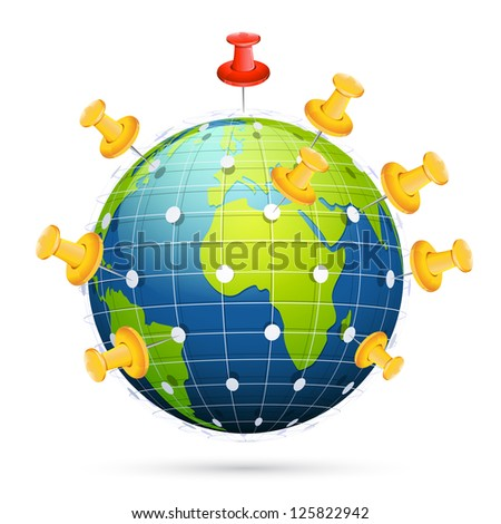 illustration of push pin on globe connected with each other showing networking - stock vector