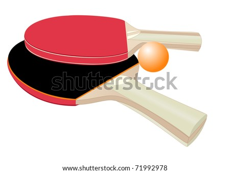 Illustration of rackets and ball for table tennis on a white background