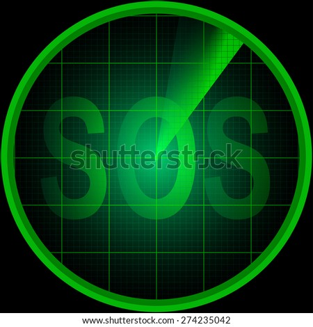 Illustration of radar screen with the word SOS - stock vector