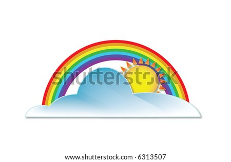 Illustration of rainbow and a cloud with sun behind - stock vector
