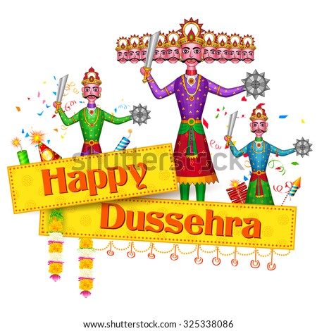 illustration of Ravan Dahan for Happy Dusshera celebration - stock vector
