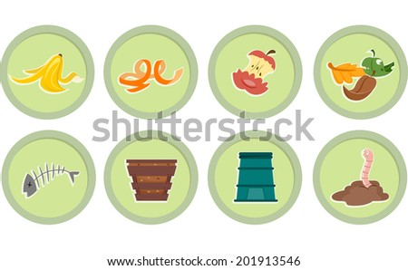 Illustration of Ready to Print Stickers Featuring Composting Icons - stock vector