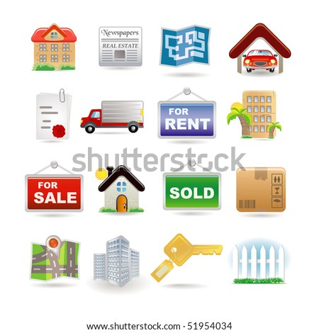 Illustration of real estate icon set - stock vector