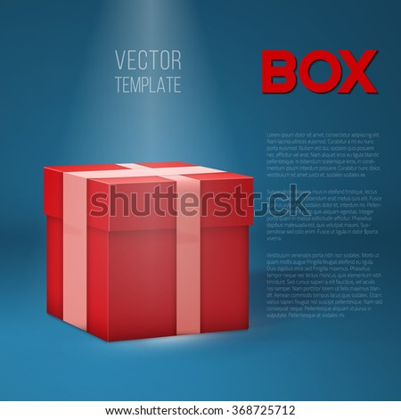 Illustration of Realistic 3D Vector Present Gift Box on Stage Light. Birthday Vector EPS10 Gift Package Box - stock vector