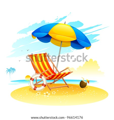 illustration of recliner under garden umbrella in sea beach - stock vector